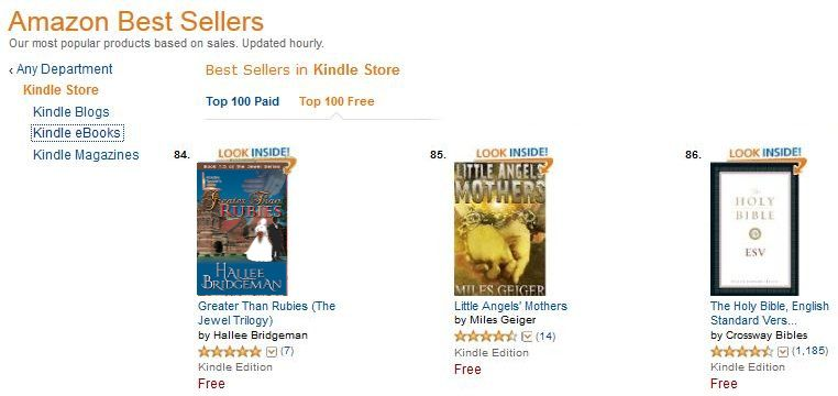 Greater Than Rubies is in the top 100 among ALL free ebooks.