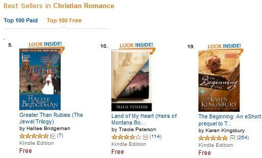 Greater Than Rubies is in the top 10 among free Christian Romance ebooks.